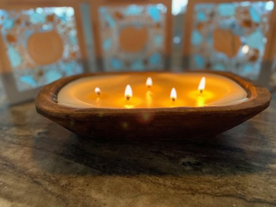 wooden bowl candle